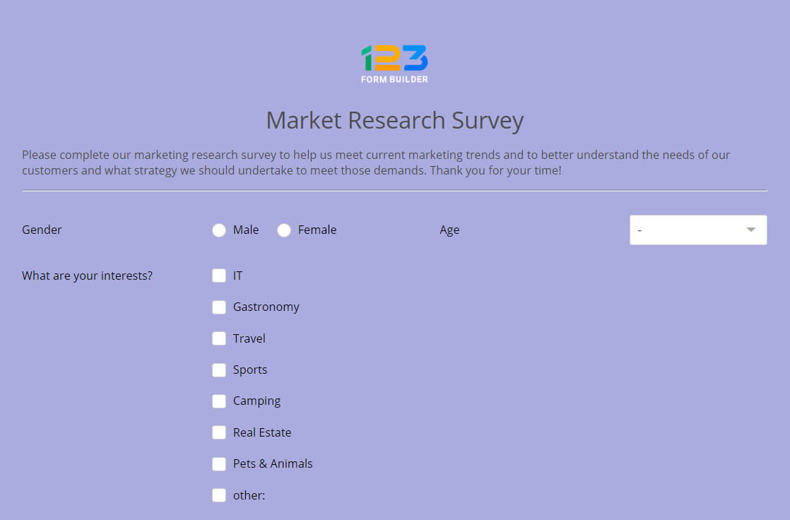 market research survey questionnaire