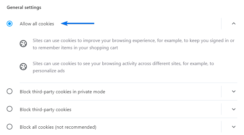 Opera Allow All Cookies