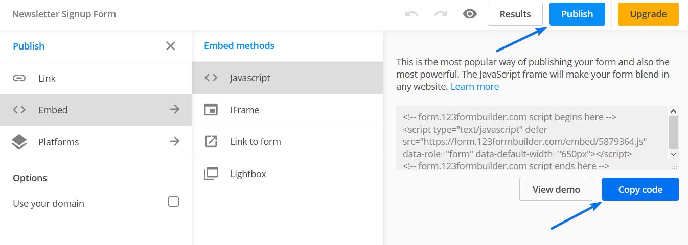 123 Form Builder Embed JavaScript