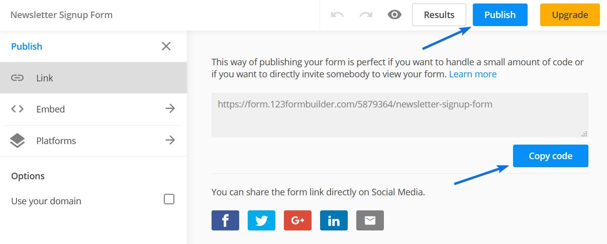 Publish Direct Link