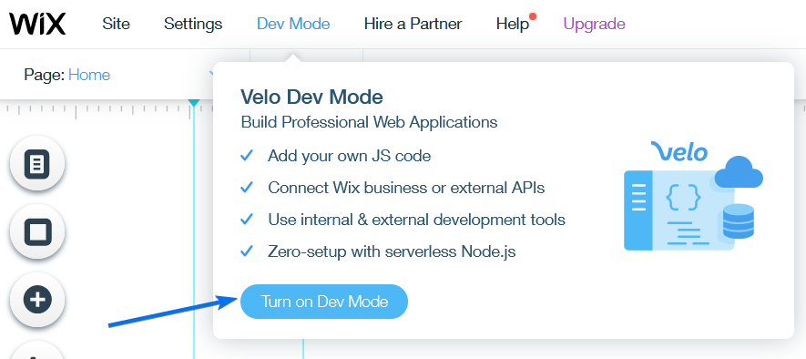 Wix Dev Mode